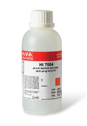 Hanna HI-7004M pH 4.01 Buffer Solution, 230 mL bottle